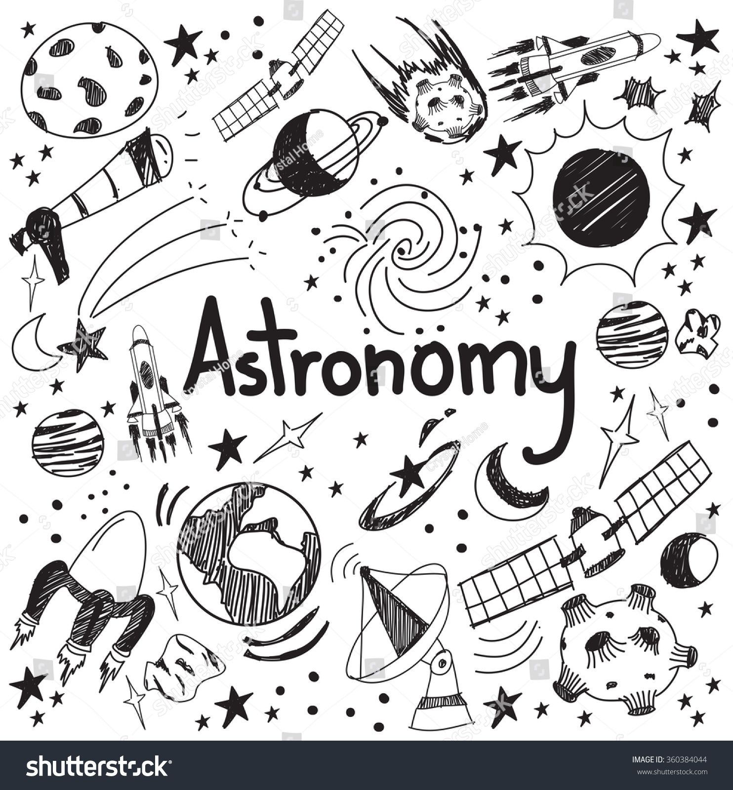 Astronomy Science Theory And Drawing Doodle Handwriting