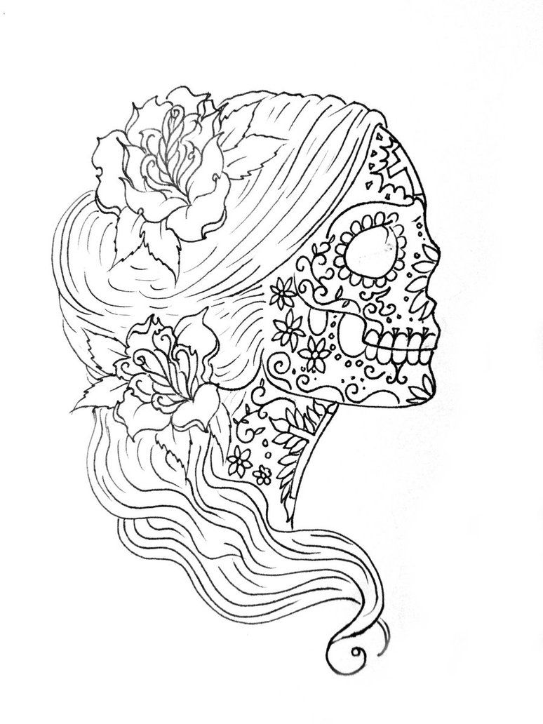 Coloring: Simple Sugar Skull Drawing Sugar Skull Coloring