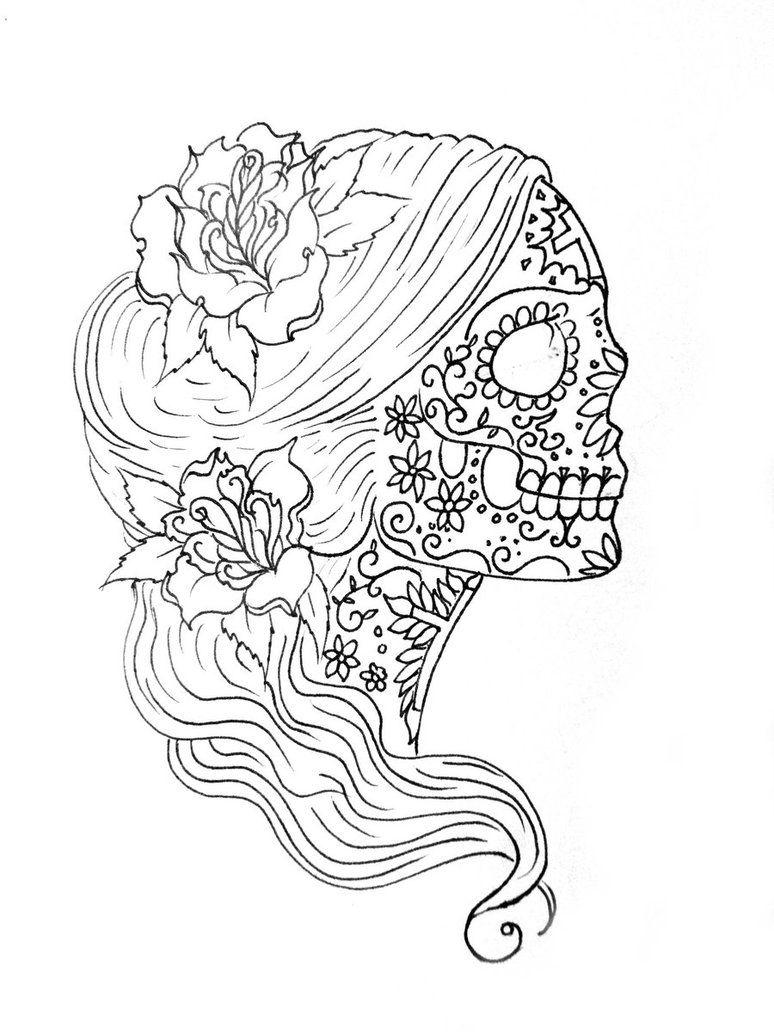 ausmalbilder totenkopf m臈chen  amorphi