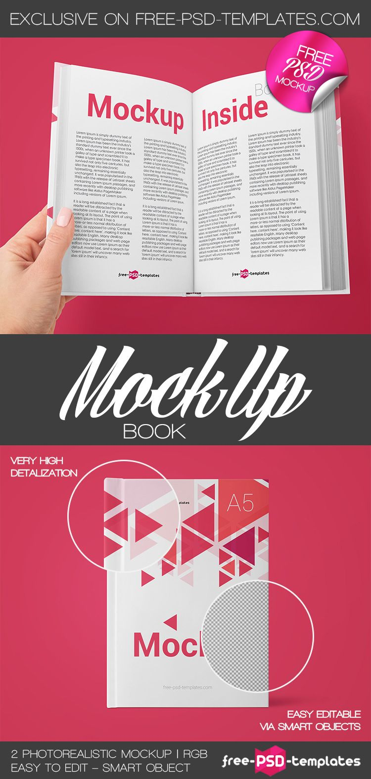 Free Book PSD MockUp Template | Design Inspiration | Mockup, Free