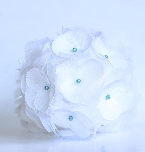 Boule De Fleur Blanche Mariage Deco Suspensions Boules Organza Soie