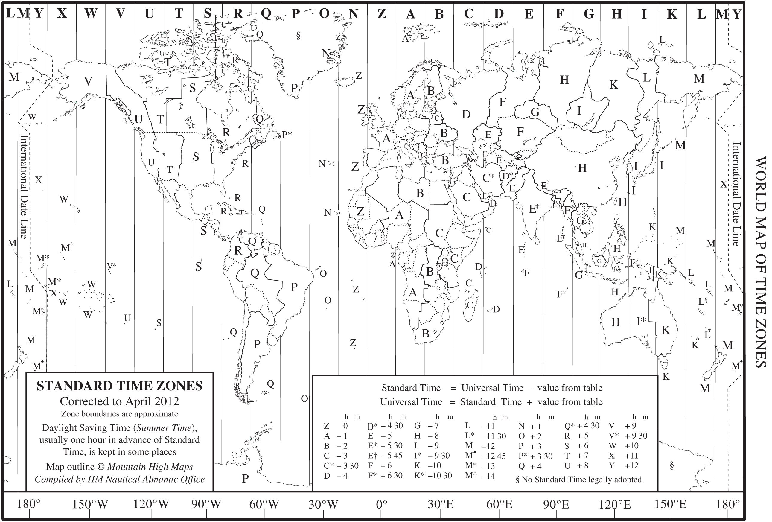 Timezone Map | World time zones, Time zone map, Time zones