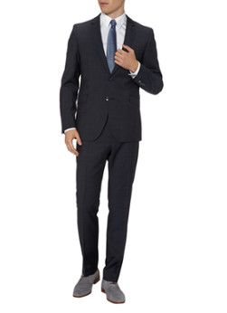 f7346f1dbf4655 Strellson Allen Mercer Birdseye slim fit suit in dark blue with  microstructure Fitted Suit, Tommy