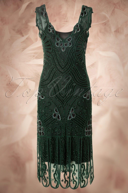 Unique Vintage - 20s Royal Flapper Dress in Emerald Green