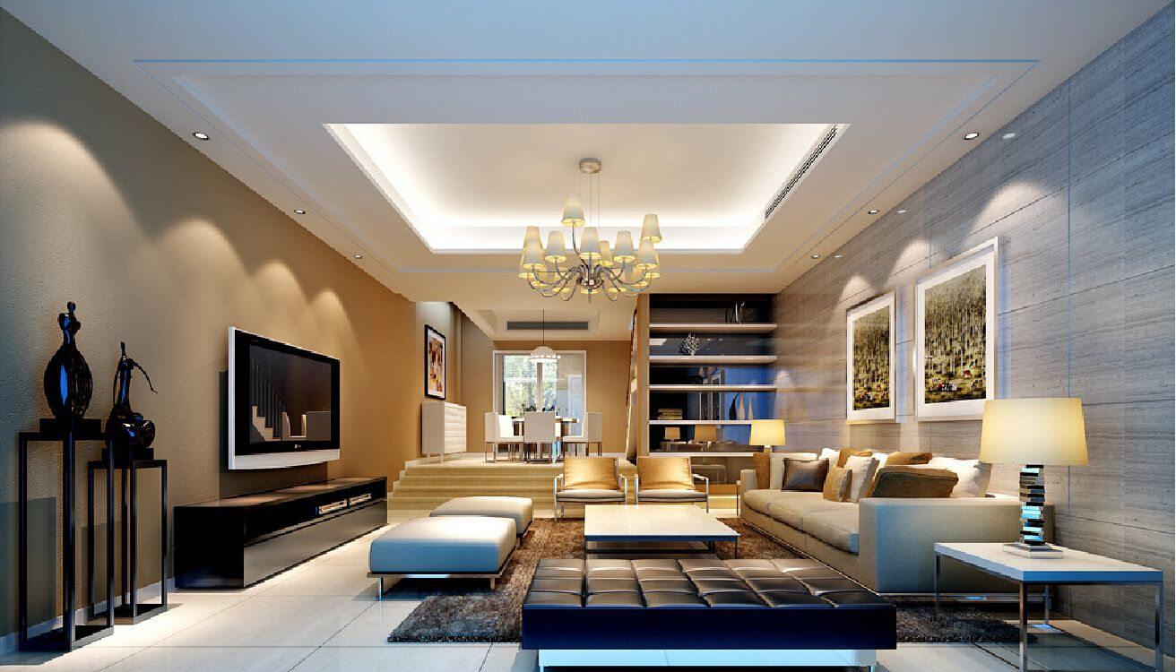 Decoration living room modern - Modern Living Room Designed With Fireplace And Wall Tv For Decorating The House With
