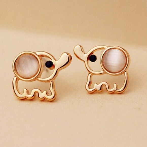 Gold elephant studs. WHITE or PINK . Please choose and let me know what color you'd like.                                                                  Super cute earrings $8.00 each! Ask me about bundle deals!  NO TRADES and PRICE IS FIRM unless bundling!! Happy Poshing ❤️ Jewelry Earrings
