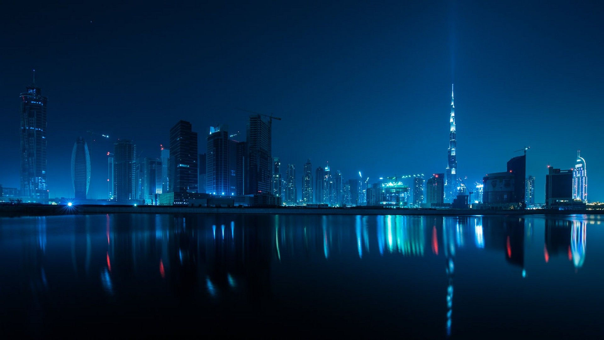 Cityscapes Dubai Blue Pictures 1920x1080 Wallpaper Cityscape Night Skyline Aesthetic Wallpapers