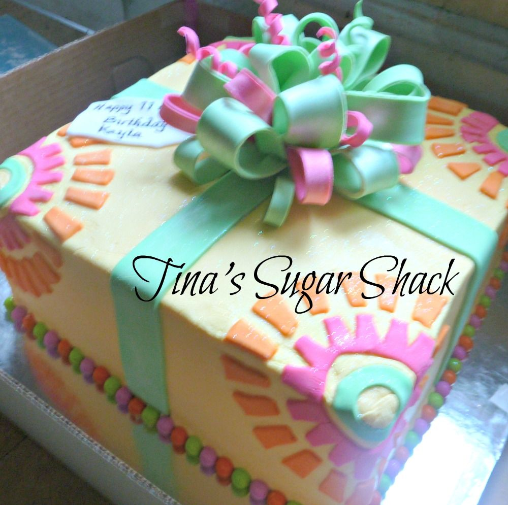 Fabulous 10 Square Cake Iced In Buttercream With A Fondant Bowribbon And Funny Birthday Cards Online Hendilapandamsfinfo