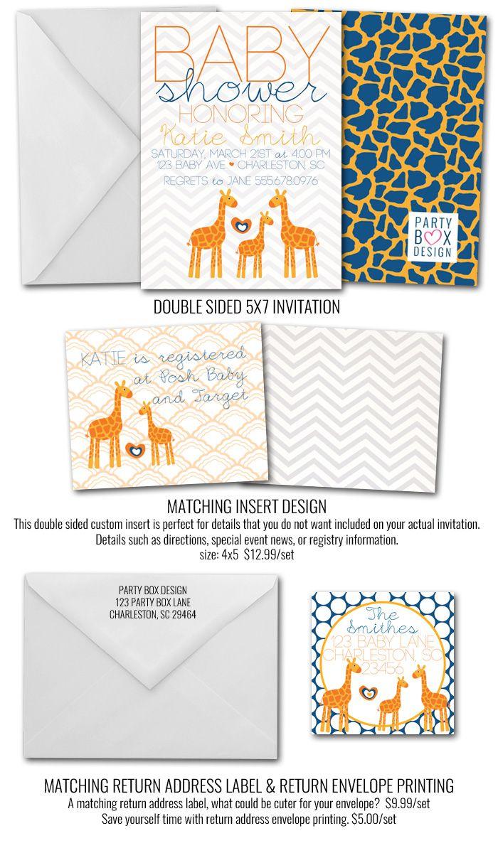 Giraffe Baby Boy Invites, Giraffe baby shower invite, giraffe baby ...