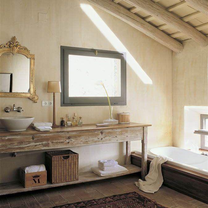 Baño rústico con mueble de almoneda CON ESTA TEXTURA Y COLOR SERAN ...