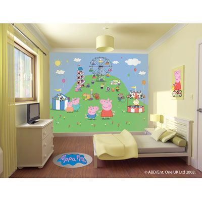 A distinctive and highly desirable Peppa Pig wall mural