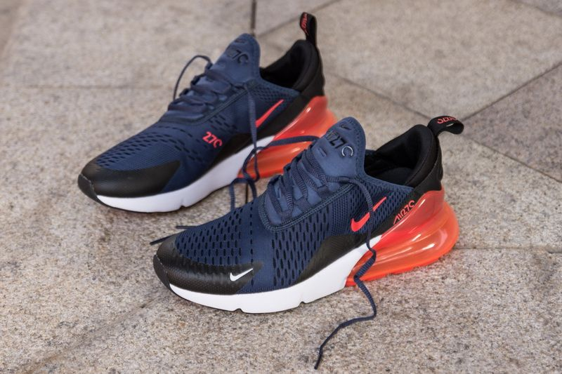 7266464e4c644 Nike Air Max 270 AH8050-401 Blue Red Shoes for Sale-03 The Black accents  found on the branding