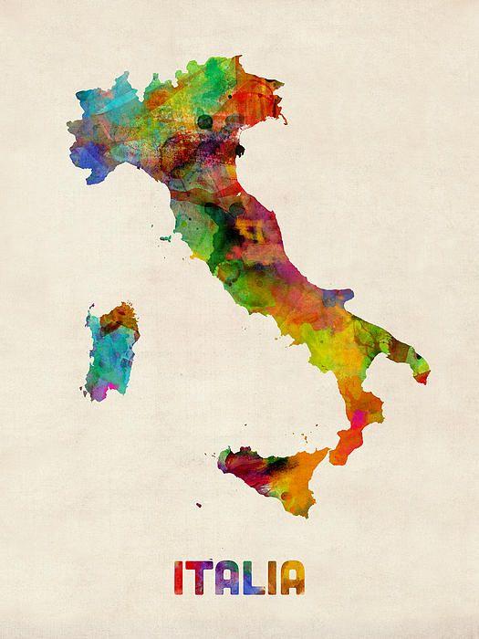 Italy Watercolor Map Italia By Michael Tompsett Com Imagens Paisagem Desenho Desenho Aguarela