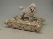 Continental Porcelain Jewellery Box - Poodle Dog Figure to Lid Floral Decorated