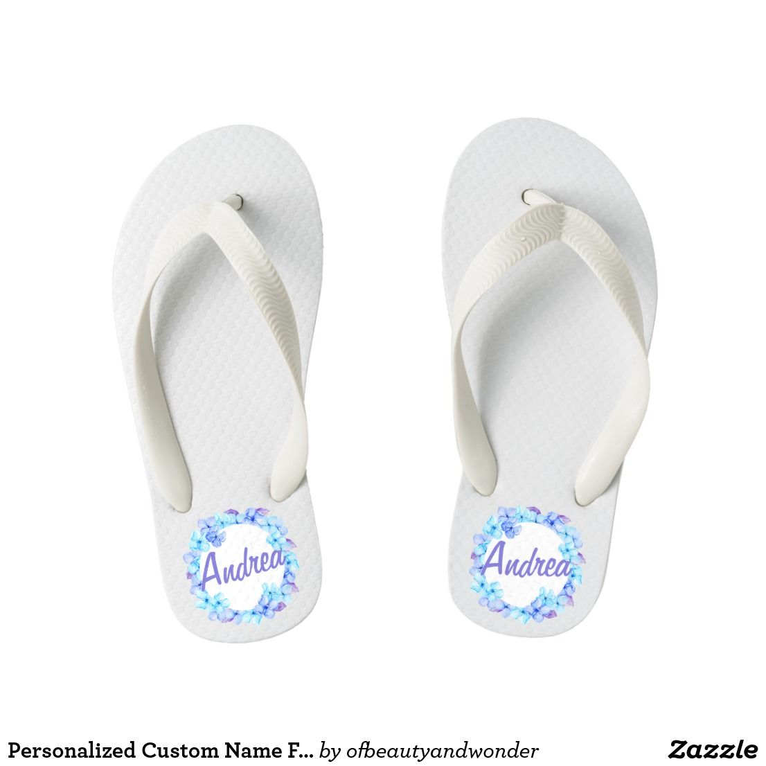 5a9bb617a2f3 Personalized Custom Name Floral Wreath Flip Flops in 2018