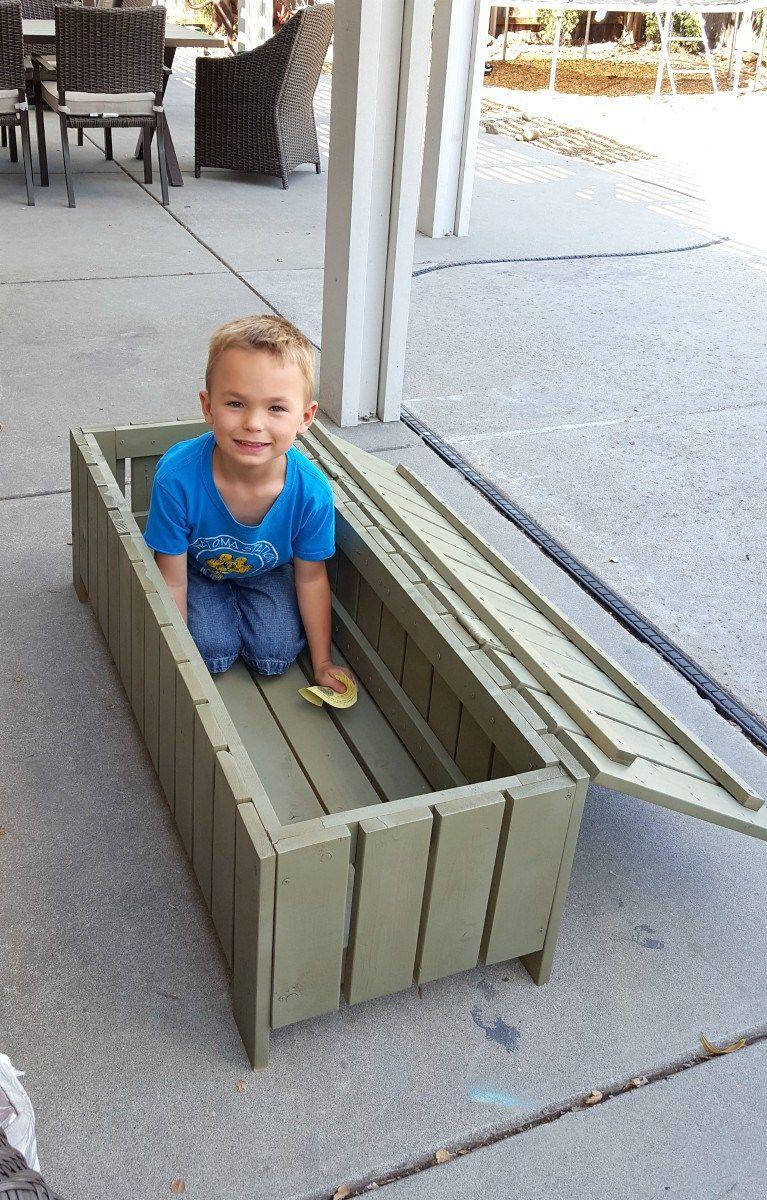 Diy outdoor coffee table storage bench tutorial diy