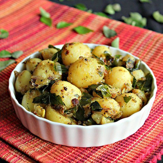 Baby Potato Curry, bursting with flavors from the curry leaves, garlic, pepper…