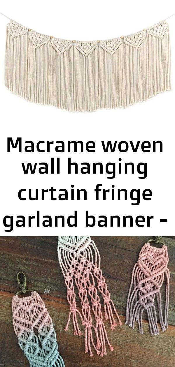 Macrame woven wall hanging curtain fringe garland banner - boho shabby chic bohemian wall decor 5 #curtainfringe