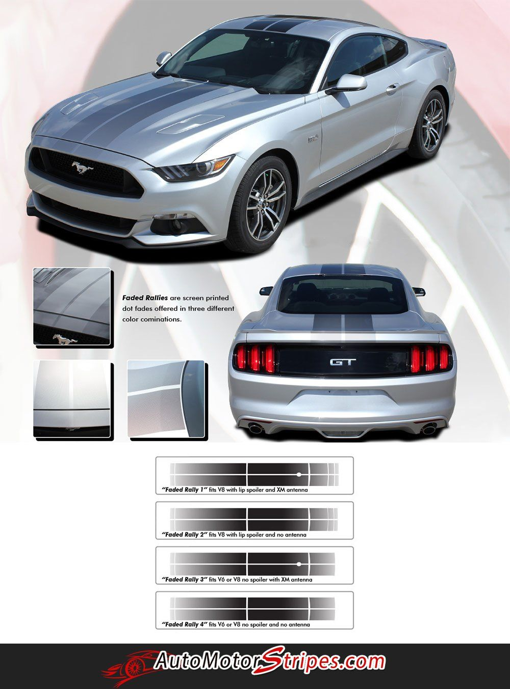 2015 2017 Ford Mustang Digital Fade Faded Rally Stripes Hood Roof Trunk Vinyl Graphic 3m Decals Ford Mustang Rally Stripes 2017 Ford Mustang