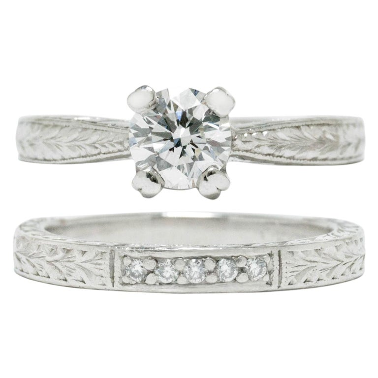 Tacori Solitaire Engagement Ring Wedding Band Set Certified