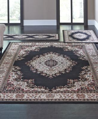 Kenneth Mink Area Rug Roma Collection 3 Piece Set Kerman Black Lighting Lamps For The Home Macy S Rug Sets Rugs Area Rug Sets 3 piece area rug sets