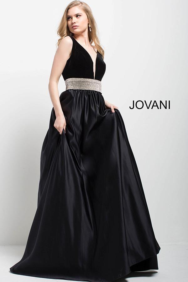df8daab93f Jovani 51802 Black v neck velvet and satin ball gown Shipping August 2017
