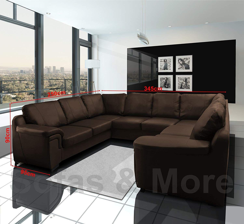 Amy Faux Leather Big U Shape Corner Sofa Black White Brown Cream