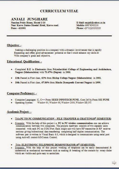 Free Cv Template Word Sample Template Example Of ExcellentCV / Resume / Curriculum  Vitae With Career Objective U0026 Work Experience For B.E. In Electronics ...