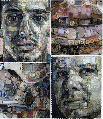 Portraits made from junk artist zac freeman one mans trash is another mans treasure