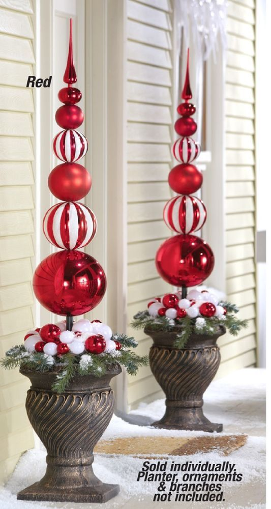 new set2 extra large christmas ornament holiday finial outdoor stakes red white unbranded - Extra Large Christmas Ornaments