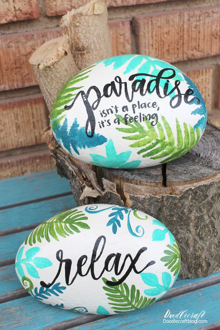 Tropical Ferns Paradise Painted Rocks #painting