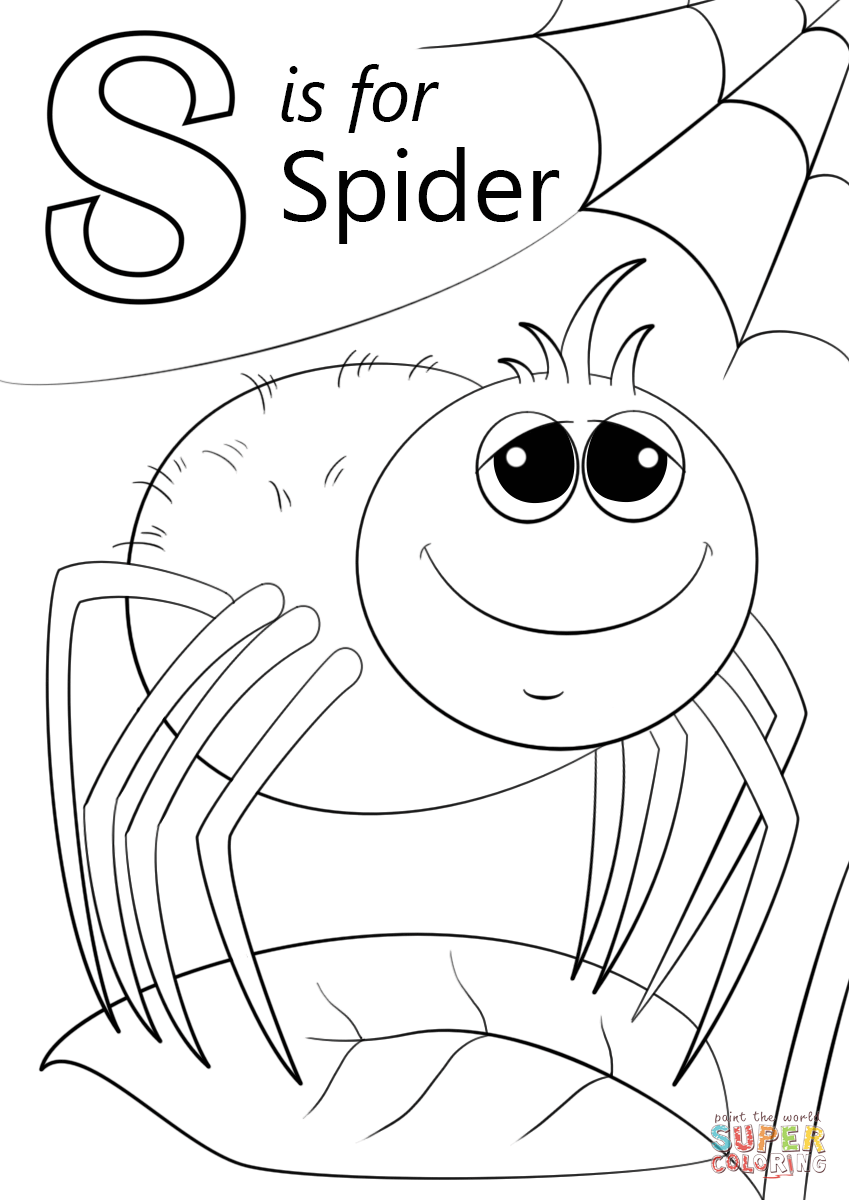 letter s is for spider coloring page from letter s category select from 26930 printable
