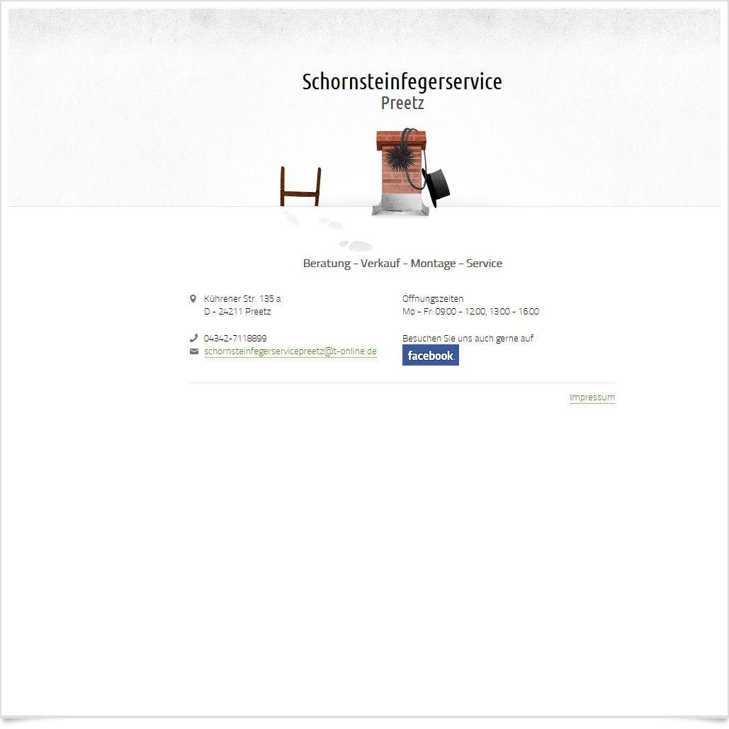 Webvisitenkarte Schornsteinfegerservice Preetz / Leistungen: Konzeption, Webdesign, Technische Umsetzung / Techniken: HTML5, CSS3, jQuery