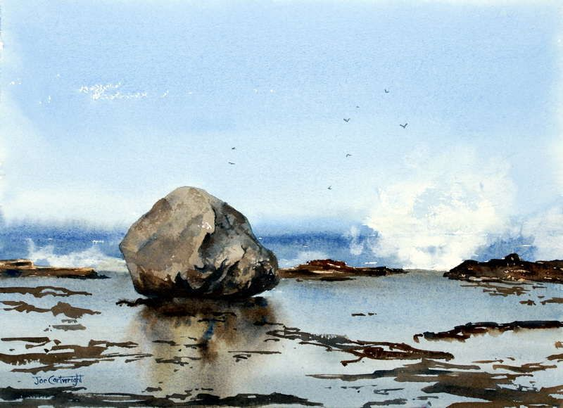 Rocks And Waves Watercolor Painting Large Boulder With Its