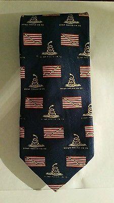 """""""Don""""t Tread On Me"""" Robert Talbott Necktie Tie Silk Made in USA"""