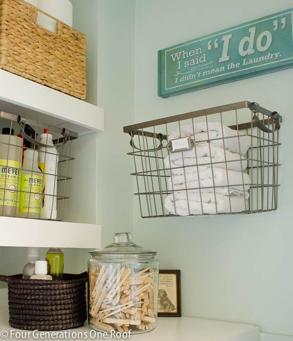 Laundry - Our Budget Laundry Room Reveal {laundry Closet Hanging Baskets
