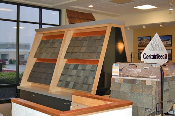 One Of Our Shingle Displays At The Scudder Roofing