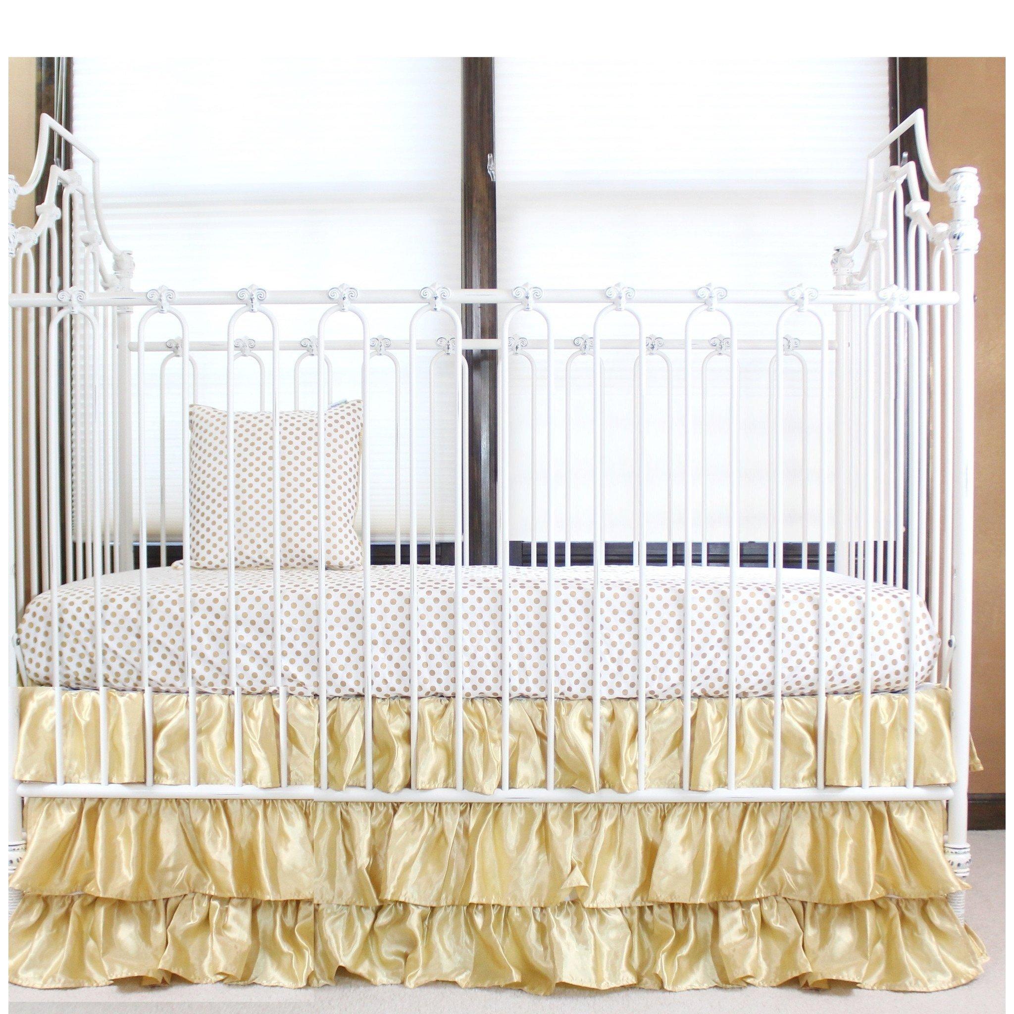 Gold And White Ruffle Gold Dot Crib Baby Bedding Set Crib Bedding Set Bold Bedding Jack And Jill Bouti Baby Bedding Sets Crib Bedding Girl Gold Nursery Decor