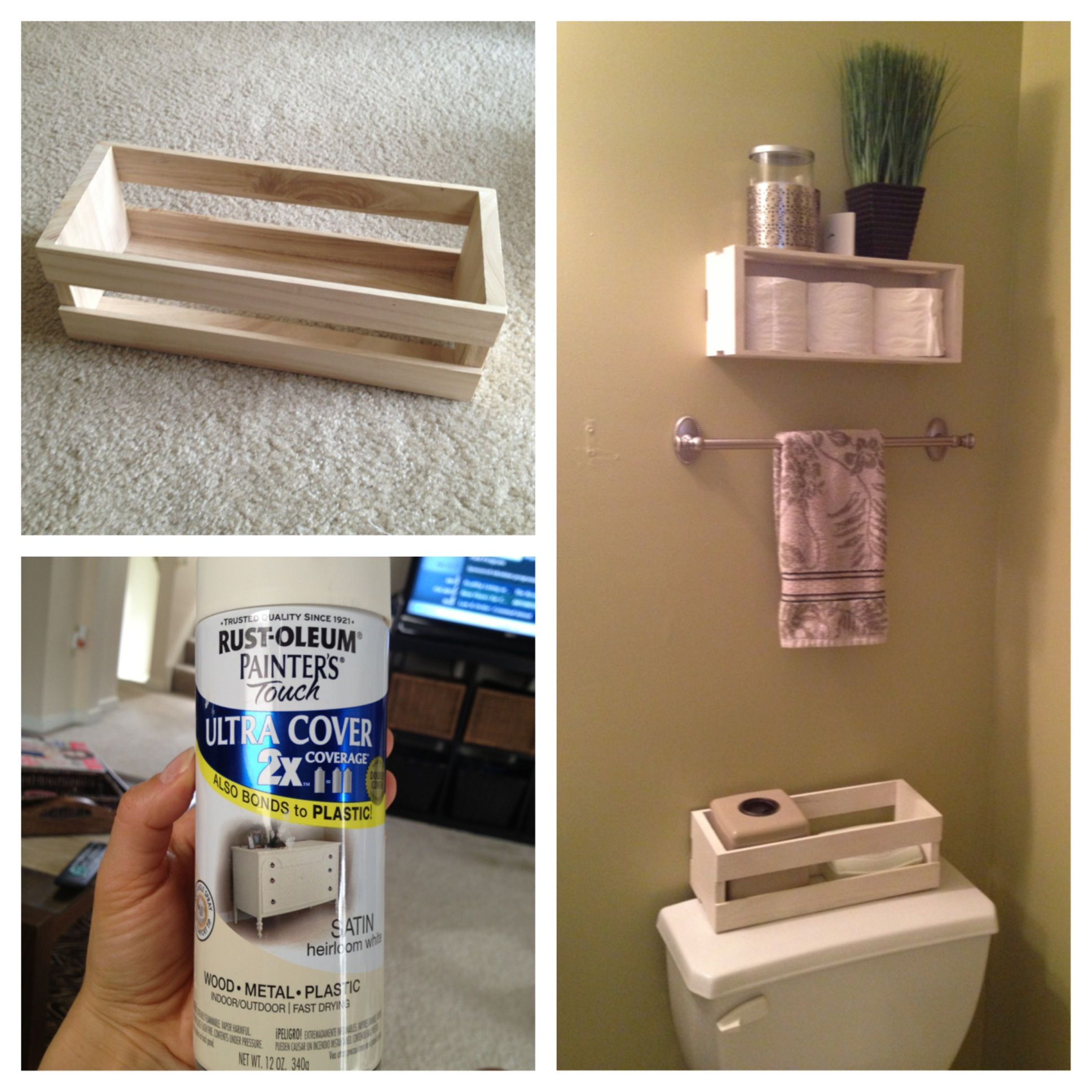 What Is The Best Paint To Use In A Bathroom: Two Small Wooden Crates From Michaels, A Can Of Spray