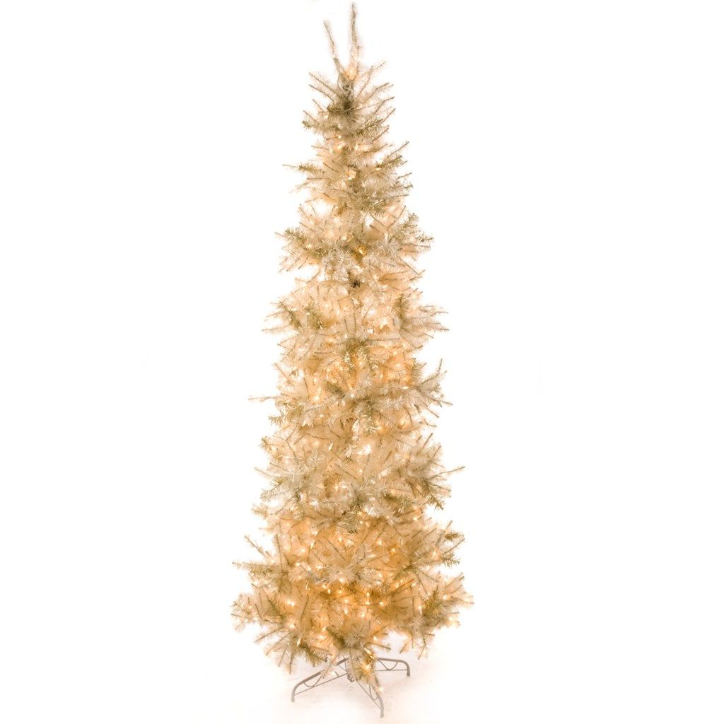 8\' Pre-Lit Slim Pearlized White Christmas Tree | White trees ...