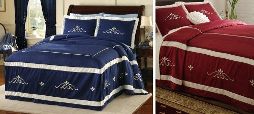 Scrollwork Bedspread Bedding Navy Queen By Collections Etc