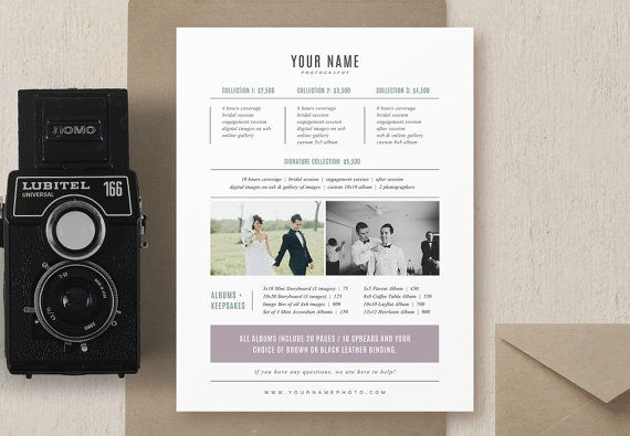photography marketing photographer price list pricing guide