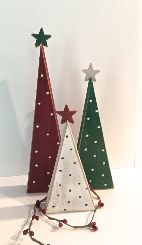 Wooden trees, Christmas trees, set of 3 trees, wood Christmas trees, tree shelf sitters, primitive trees, Christmas decor, rustic Christmas #christmastreeideas