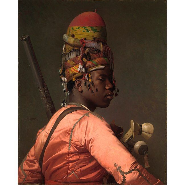 """Black Bashi Bazouk"" Jean-Léon Gérôme 1869  This is another one at the Met in New York that I visit often. Another simple portrait taken to insane heights with an attention to lighting and absolute mastery of balance and contrast. This piece and Gérôme's epic ""Pollice Verso"" are among my all-time favorite paintings."