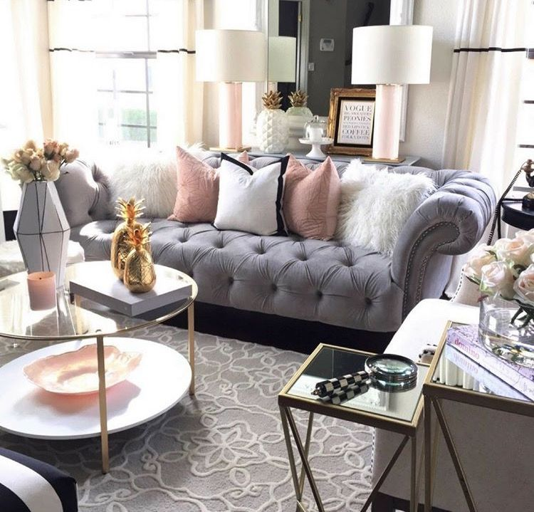 Rose Gold Accessories instead in 2019 | Glam living room ...
