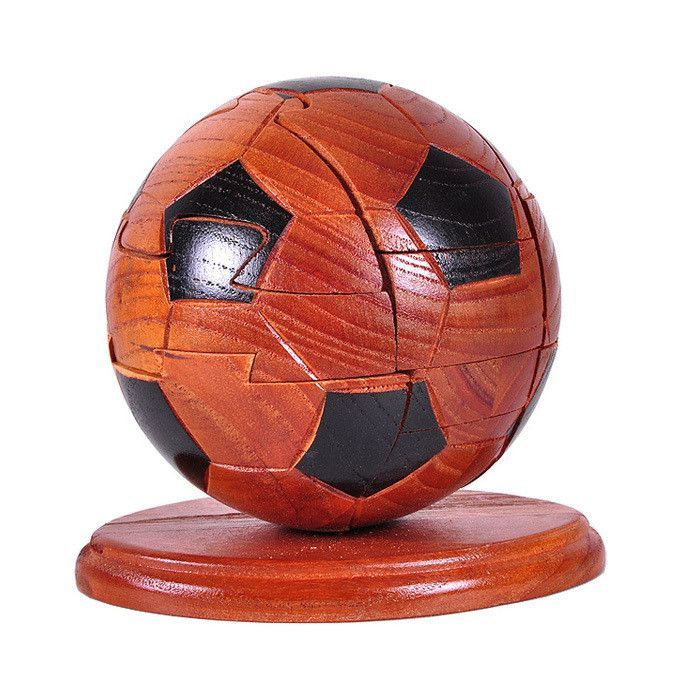 sandalwood 3d iq football puzzle assembling toys wooden craft for