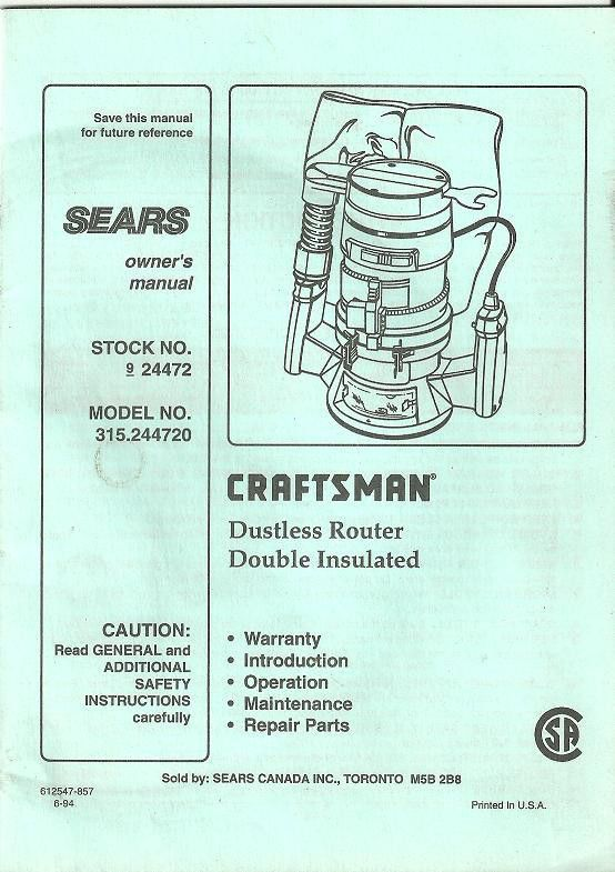 owner s manual craftsman 315 244720 dustless router 612547 857 6 94 rh pinterest com sears tool manuals online sears craftsman tools manuals