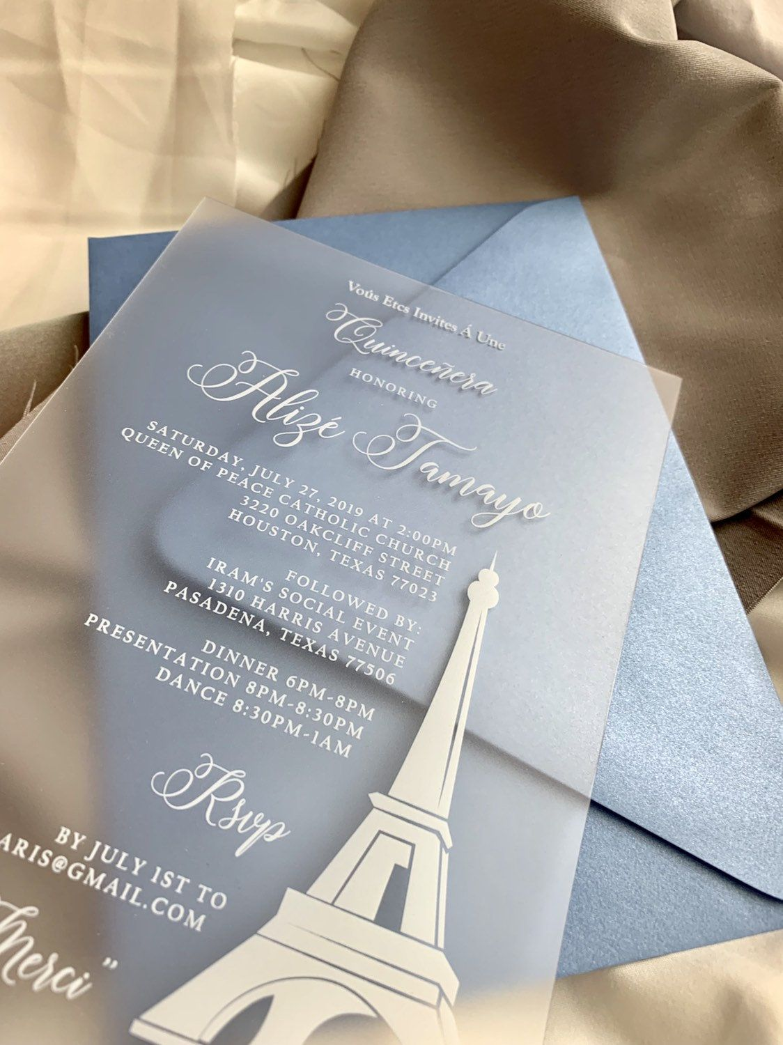 Quince Clear Invitation Suite Modern Plastic Clear