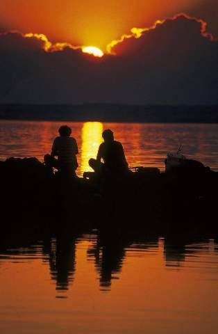 angler sonnenuntergang balaton see studenten camping. Black Bedroom Furniture Sets. Home Design Ideas