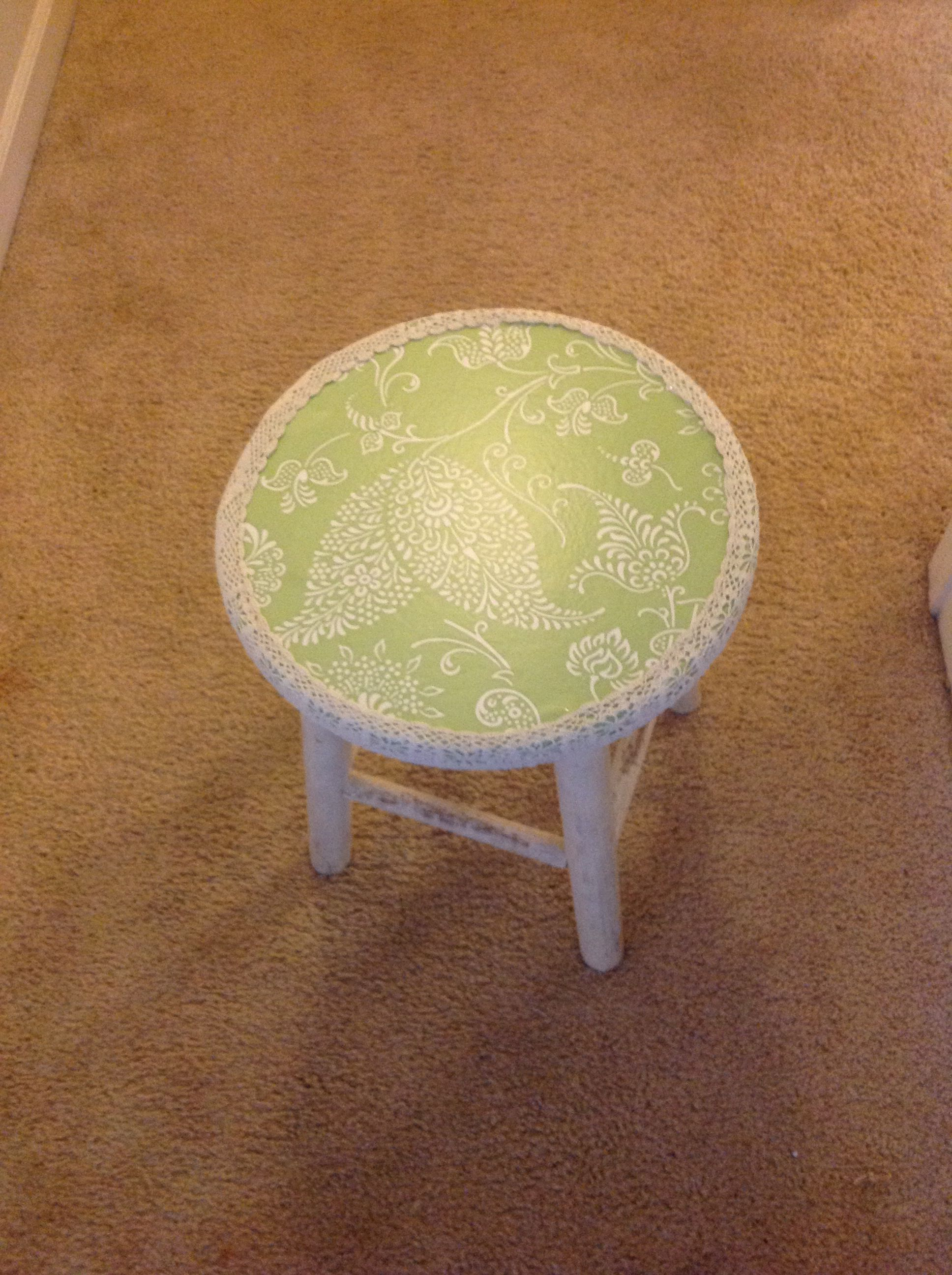 Pretty little stool made out of tape ,lace ,and hot glue